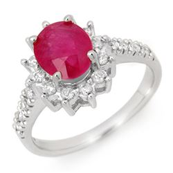 3.05 CTW Ruby & Diamond Ring 18K White Gold - REF-84H4A - 13938