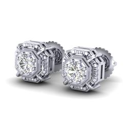 1.11 CTW VS/SI Diamond Solitaire Art Deco Stud Earrings 18K White Gold - REF-218H2A - 36875