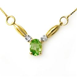 1.30 CTW Peridot & Diamond Necklace 10K Yellow Gold - REF-18K5W - 12631