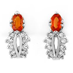 0.90 CTW Orange Sapphire & Diamond Earrings 10K White Gold - REF-30T2M - 10351