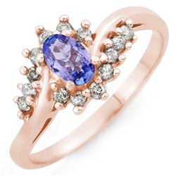 0.55 CTW Tanzanite & Diamond Ring 18K Rose Gold - REF-41K8W - 10323