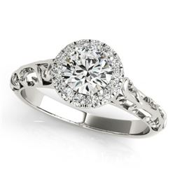 0.62 CTW Certified VS/SI Diamond Solitaire Antique Ring 18K White Gold - REF-110F4N - 27324