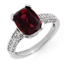 3.50 CTW Pink Tourmaline & Diamond Ring 10K White Gold - REF-74H8A - 11332