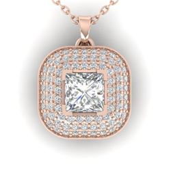 1.60 CTW Princess VS/SI Diamond Art Deco Stud Micro Halo Necklace 14K Rose Gold - REF-428A2X - 30451