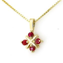0.45 CTW Ruby Pendant 10K Yellow Gold - REF-8A6X - 12645