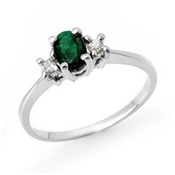 1.04 CTW Emerald & Diamond Ring 18K White Gold - REF-41X8T - 12485