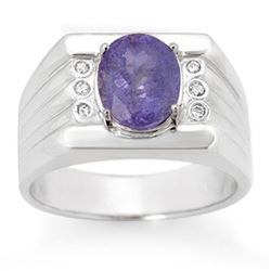 2.56 CTW Tanzanite & Diamond Men's Ring 10K White Gold - REF-90A9X - 14468