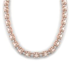 44.25 CTW Morganite & VS/SI Certified Diamond Eternity Necklace 10K Rose Gold - REF-465T5M - 29428