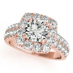 2 CTW Certified VS/SI Diamond Solitaire Halo Ring 18K Rose Gold - REF-284M2H - 26441