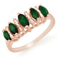 0.70 CTW Emerald Ring 10K Rose Gold - REF-17W6F - 12654