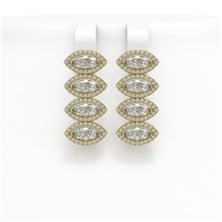 5.92 CTW Marquise Diamond Designer Earrings 18K Yellow Gold - REF-1098A8X - 42838
