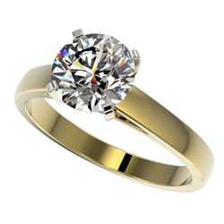 2 CTW Certified H-SI/I Quality Diamond Solitaire Engagement Ring 10K Yellow Gold - REF-466Y3K - 3303