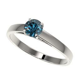 0.56 CTW Certified Intense Blue SI Diamond Solitaire Engagement Ring 10K White Gold - REF-50T3M - 36
