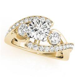 1.76 CTW Certified VS/SI Diamond Bypass Solitaire Ring 18K Yellow Gold - REF-435X8T - 27668