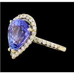 4.01 ctw Tanzanite and Diamond Ring - 14KT Yellow Gold