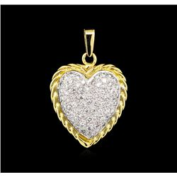 1.20 ctw Diamond Heart Pendant - 14KT Two-Tone Gold