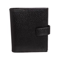Gucci Black Cinghiale Leather Mini Agenda Cover