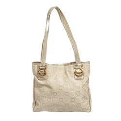 Salvatore Ferragamo Beige Fabric Leather Gancini Print Tote Bag