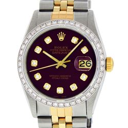 Rolex Mens 2 Tone 14K Maroon Diamond 36MM Datejust Wristwatch