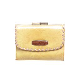 Pinky & Dianne Yellow Metallic Floral Print Patent Leather Small Wallet