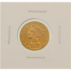 1905-S $5 Liberty Head Half Eagle Gold Coin