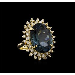 14KT Yellow Gold 22.70 ctw Topaz and Diamond Ring