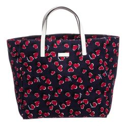 Gucci Blue Red Canvas Leather Girls' Heart Print Tote Bag