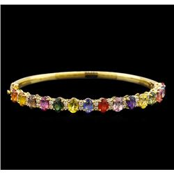 14KT Yellow Gold 10.15 ctw Multicolor Sapphire and Diamond Bracelet
