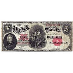 1907 $5 Legal Tender Note Woodchopper