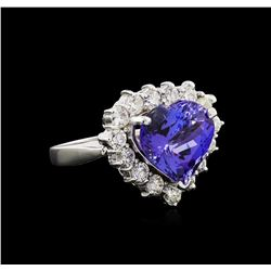 8.00 ctw Tanzanite and Diamond Ring - 14KT White Gold