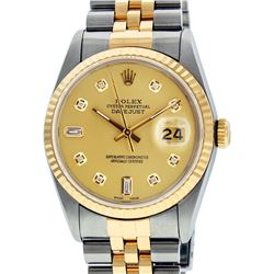 Rolex Mens 2 Tone 14K Champagne Diamond 36MM Datejust Wristwatch
