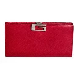 Gucci Red Grained Leather Long Wallet