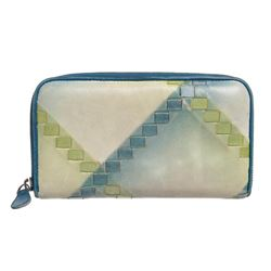 Bottega Veneta Beige Green Blue Leather Zipper Wallet