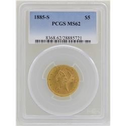 1885-S $5 Liberty Head Half Eagle Gold Coin PCGS MS62