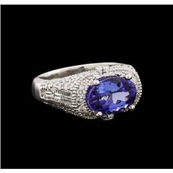 14KT White Gold 2.84 ctw Tanzanite and Diamond Ring