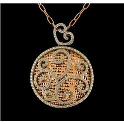 14KT Two-Tone Gold 1.30 ctw Diamond Pendant With Chain