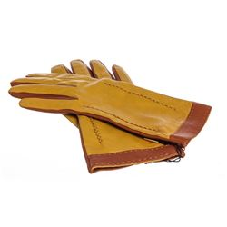 MCM Brown Mustard Leather Gloves