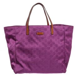 Gucci Purple Nylon Leather GG Tote Bag