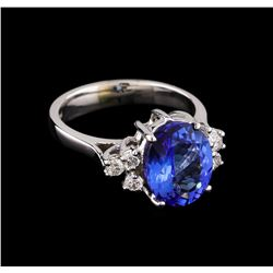 3.05 ctw Tanzanite and Diamond Ring - 14KT White Gold