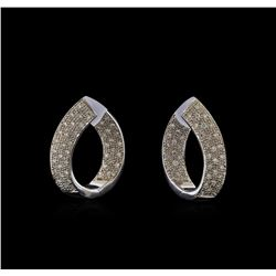 1.03 ctw Diamond Hoop Earrings - 14KT White Gold