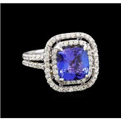 14KT White Gold 3.98 ctw Tanzanite and Diamond Ring