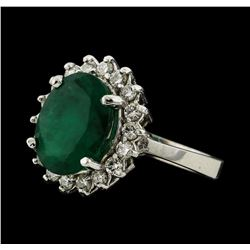 3.75 ctw Emerald and Diamond Ring - 14KT White Gold