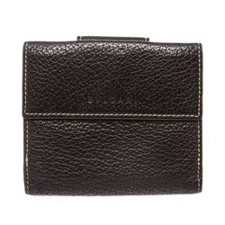 Bvlgari Black Leather Snap Closure Compact Wallet