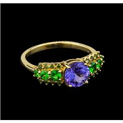 14KT Yellow Gold 1.37 ctw Tanzanite and Garnet Ring