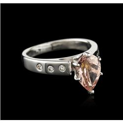 Platinum 1.42 ctw Morganite and Diamond Ring
