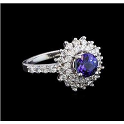 14KT White Gold 1.14 ctw Tanzanite and Diamond Ring