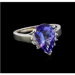 3.62 ctw Tanzanite and Diamond Ring - 14KT White Gold