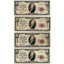 Lot (4) 1929 $10 San Francsico CA National Currency Notes - Charter 13044