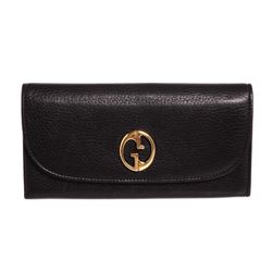Gucci Vintage 1973 Black Leather Continental Wallet