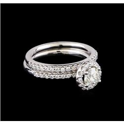1.15 ctw Diamond Wedding Ring Set - 14KT White Gold